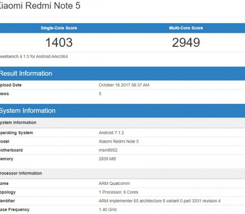 Xiaomi Redmi Note 5 — Geekbench